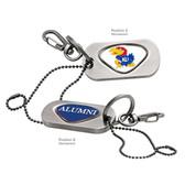Kansas Jayhawks Alumni Dog Tag Key Chain KANSAS MASCOT  JAYHAWKS/ALUMNI