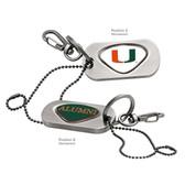Miami Hurricanes Alumni Dog Tag Key Chain UNIV. OF MIAMI CAPITAL U/ALUMNI