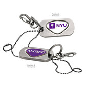 New York University Alumni Dog Tag Key Chain NYU INITIALS/ALUMNI