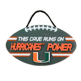 Miami Hurricanes Sign Wood Football Power Design
