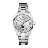 Michigan State University Bulova Men`s Corporate Classic Silver-Tone Bracelet Watch