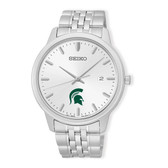 Michigan State University Seiko Men's Analog  Quartz Silver Tone Dial Stainless Steel Watch