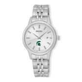 Michigan State University Seiko Women's Analog  Quartz Silver Tone Dial Stainless Steel Watch
