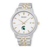 Michigan State University Seiko Men's Prime Analog Quartz Two-Tone Stainless Steel Bracelet Watch