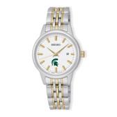 Michigan State University Seiko Women's Prime Analog Quartz Two-Tone Stainless Steel Bracelet Watch