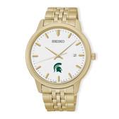 Michigan State University Seiko Quartz White Dial Gold-Tone Men's Watch