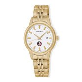 Florida State Seminoles Seiko Quartz White Dial Gold-Tone Women's Watch