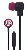 Mizco NCAA Texas A&M Aggies Big Logo black cord earbuds