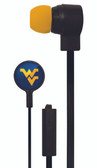 Mizco NCAA West Virginia Mountaineers Big Logo black cord earbuds