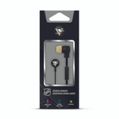Mizco NHL Pittsburgh Penguins Big Logo black cord earbuds