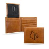 Louisville Cardinals Laser Engraved Brown Billfold Wallet