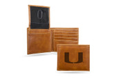 Miami  Hurricanes Laser Engraved Brown Billfold Wallet