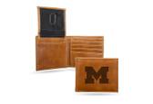 Michigan Wolverines Laser Engraved Brown Billfold Wallet