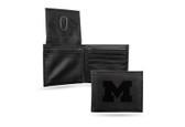 Michigan Wolverines Laser Engraved Black Billfold Wallet