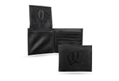 Wisconsin Badgers Laser Engraved Black Billfold Wallet