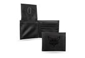 Charlotte Hornets Laser Engraved Black Billfold Wallet
