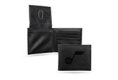 Utah Jazz Laser Engraved Black Billfold Wallet