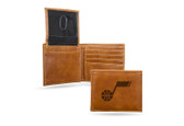 Utah Jazz Laser Engraved Brown Billfold Wallet