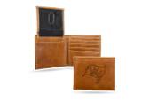 Tampa Bay Buccaneers Laser Engraved Brown Billfold Wallet