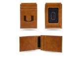Miami Hurricanes Laser Engraved Brown Front Pocket Wallet