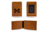 Michigan Wolverines Laser Engraved Brown Front Pocket Wallet