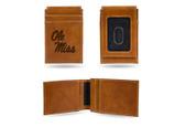 Ole Miss Rebels Laser Engraved Brown Front Pocket Wallet