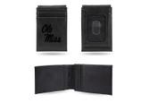 Ole Miss Rebels Laser Engraved Black Front Pocket Wallet