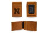 Nebraska Cornhuskers Laser Engraved Brown Front Pocket Wallet