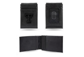 Texas Tech Red Raiders Laser Engraved Black Front Pocket Wallet