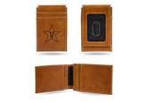 Vanderbilt Commodores Laser Engraved Brown Front Pocket Wallet