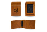 New York Mets Laser Engraved Brown Front Pocket Wallet