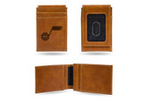 Utah Jazz Laser Engraved Brown Front Pocket Wallet