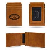 New York Jets Laser Engraved Brown Front Pocket Wallet