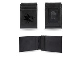 San Jose Sharks Laser Engraved Black Front Pocket Wallet