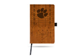 Clemson Tigers Laser Engraved Brown Notepad With Elastic Band