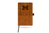 Michigan Wolverines Laser Engraved Brown Notepad With Elastic Band