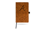 Atlanta Braves Laser Engraved Brown Notepad With Elastic Band
