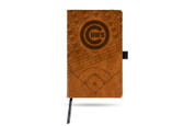 Chicago Cubs Laser Engraved Brown Notepad With Elastic Band