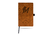 Miami Marlins Laser Engraved Brown Notepad With Elastic Band
