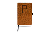 Pittsburgh Pirates Laser Engraved Brown Notepad With Elastic Band