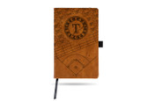Texas Rangers Laser Engraved Brown Notepad With Elastic Band