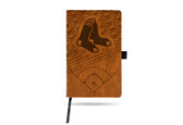 Boston Red Sox Laser Engraved Brown Notepad With Elastic Band