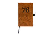 Philadelphia 76ers Laser Engraved Brown Notepad With Elastic Band