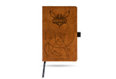 Charlotte Hornets Laser Engraved Brown Notepad With Elastic Band