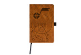 Utah Jazz Laser Engraved Brown Notepad With Elastic Band
