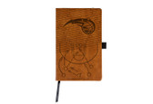 Orlando Magic Laser Engraved Brown Notepad With Elastic Band