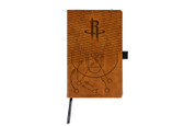 Houston Rockets Laser Engraved Brown Notepad With Elastic Band