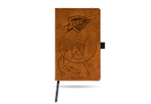 Oklahoma City Thunder Laser Engraved Brown Notepad With Elastic Band