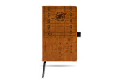 Miami Dolphins Laser Engraved Brown Notepad With Elastic Band
