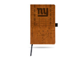New York Giants Laser Engraved Brown Notepad With Elastic Band